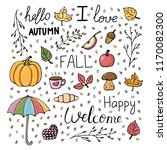 hand drawn autumn pattern set.... | Shutterstock .eps vector #1170082300