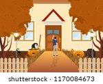 boy knocking on the doors flat... | Shutterstock .eps vector #1170084673