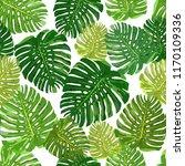 tropical leaves seamless... | Shutterstock . vector #1170109336
