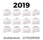calendar for 2019 on white... | Shutterstock .eps vector #1170109450