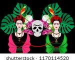 frida kahlo portrait with... | Shutterstock .eps vector #1170114520
