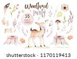 cute baby fox  deer animal... | Shutterstock . vector #1170119413