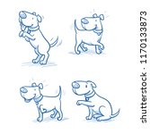 cute cartoon dog set. sitting ... | Shutterstock .eps vector #1170133873