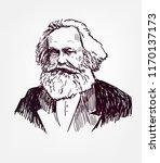 karl marx vector sketch... | Shutterstock .eps vector #1170137173