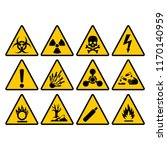warning yellow triangle sign... | Shutterstock .eps vector #1170140959