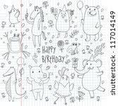 happy birthday. cartoon funny... | Shutterstock .eps vector #117014149