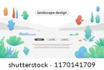 modern flat landscape with... | Shutterstock .eps vector #1170141709