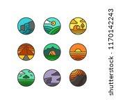 vector flat set of nature logos.... | Shutterstock .eps vector #1170142243