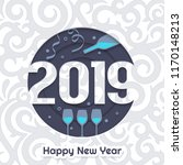 2019 happy new year greeting... | Shutterstock .eps vector #1170148213