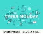 cyber monday lettering with...   Shutterstock .eps vector #1170155203