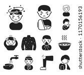 the sick man black icons in set ... | Shutterstock .eps vector #1170156193