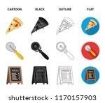 a pizza cutter  a slice  a menu ... | Shutterstock .eps vector #1170157903
