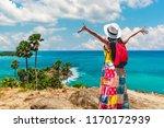 traveler woman joy relaxing... | Shutterstock . vector #1170172939