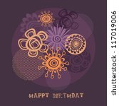 happy birthday card with... | Shutterstock .eps vector #117019006