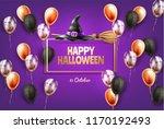 vector halloween holiday poster ... | Shutterstock .eps vector #1170192493