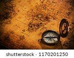 top view of vintage navigation...   Shutterstock . vector #1170201250