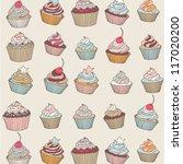 Cupcakes Sweets Cartoon Vector...