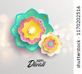 happy diwali. paper graphic of... | Shutterstock .eps vector #1170202516