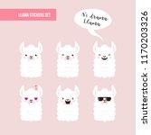cute doodle characters llamas... | Shutterstock .eps vector #1170203326