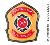 firefighter badge  emblem. 3d... | Shutterstock . vector #1170212236