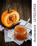 pumpkin with jam on wooden... | Shutterstock . vector #1170215923