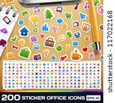 200 universal sticker icons | Shutterstock .eps vector #117022168
