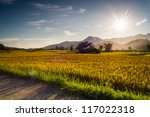 sunset behind the mountains in... | Shutterstock . vector #117022318