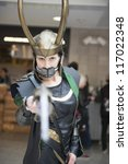Small photo of LONDON, UK - OCTOBER 27: Loki from Thor poses at the London Comicon MCM Expo. Most participants dress up in superhero costumes to compete in the Euro Cosplay Championship. October 27, 2012 in London.