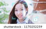 woman use smart phone unlocking ... | Shutterstock . vector #1170252259