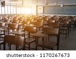empty classroom with vintage... | Shutterstock . vector #1170267673