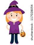 cute halloween witch girl... | Shutterstock .eps vector #117028054