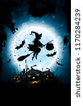 halloween background with... | Shutterstock .eps vector #1170284239