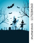 halloween party poster with... | Shutterstock .eps vector #1170284263