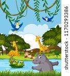 wild animals in nature...   Shutterstock .eps vector #1170293386