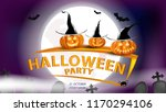 halloween party with pumpkins... | Shutterstock .eps vector #1170294106