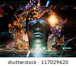 Android Dream series. Design made of human model, numbers and design elements to serve as backdrop for projects related to science, information and modern technology - stock photo