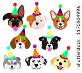 cute pups face with party hat... | Shutterstock .eps vector #1170304996