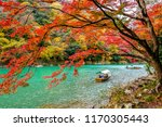 boatman punting the boat at... | Shutterstock . vector #1170305443