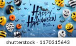 happy halloween background with ... | Shutterstock .eps vector #1170315643