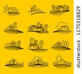 farming fields line icons vector   Shutterstock .eps vector #1170318829