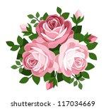 Three Pink Roses. Vector...