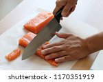 a hand with a knife cutting raw ... | Shutterstock . vector #1170351919