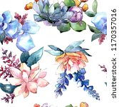 watercolor colorful bouquet... | Shutterstock . vector #1170357016