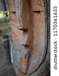 wooden totem pole with human... | Shutterstock . vector #1170361633