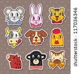 animal face stickers | Shutterstock .eps vector #117036346