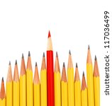 yellow pencils and one red... | Shutterstock . vector #117036499