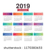 desk calendar 2019. simple... | Shutterstock .eps vector #1170383653