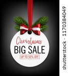 christmas sale sticker with bow ... | Shutterstock .eps vector #1170384049