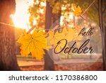 hello october card. garland of... | Shutterstock . vector #1170386800