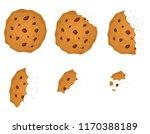 bitten chip cookie with... | Shutterstock .eps vector #1170388189